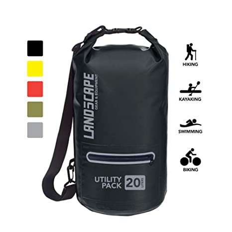 ae6db14ef208 LAND5CAPE - Waterproof Dry Bag with Reflective Front Zipper Pocket, Keeps  Gear Dry for Kayaking, Beach, Rafting, Boating, Hiking, Camping, Paddle ...