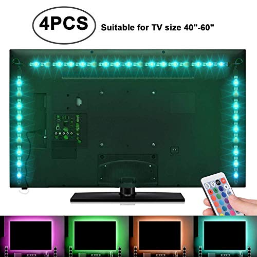 Sunnest TV Backlight Light Kit, 6.56FT/2M 5V USB LED Lights Strips 5050 RGB Bias Lighting with Remote for HDTV Desktop PC Monitor Home Theater Kitchen Cabinets, Multi Color (40-60in) by SUNNEST