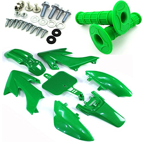 TC-Motor Green Body Work Fender Plastic Fairing Kit Bolt Screws Kits Throttle Handle Grips For Honda Dirt XR50 CRF50 Pit Bike