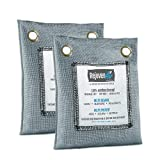 Bamboo Charcoal Air Purifying Bag (2 Pack), 200g Natural Air Freshener Bags, Activated Charcoal Eliminators, Car Air Purifier, Closet Freshener, Home Air Freshener, Charcoal Bags in Grey Color