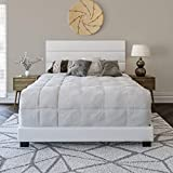 Boyd Sleep Montana Upholstered Platform Bed Frame with Tri-Panel Design Headboard : Faux Leather, White, Queen