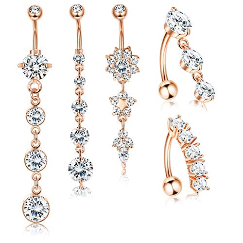 (Jstyle 5Pcs 14G Stainless Steel Dangle Belly Button Rings for Women Girls Reverse Navel Rings Curved Barbell CZ Body Piercing)