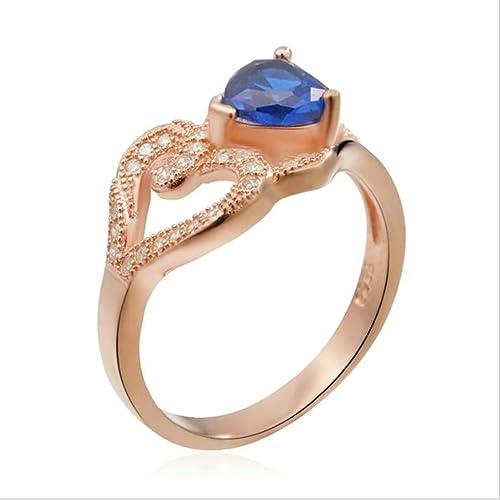 Plata de Ley daesar anillos boda bandas para mujeres Hollow corazón redondo Cubic Zirconia Oro Rosa