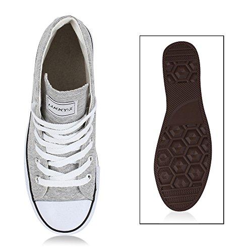 Damen Herren Unisex Sneaker High Schnürer Denim Sneakers Camouflage Sportschuhe Turnschuhe Glitzer Stoff Schuhe Übergrößen Flandell Hellgrau