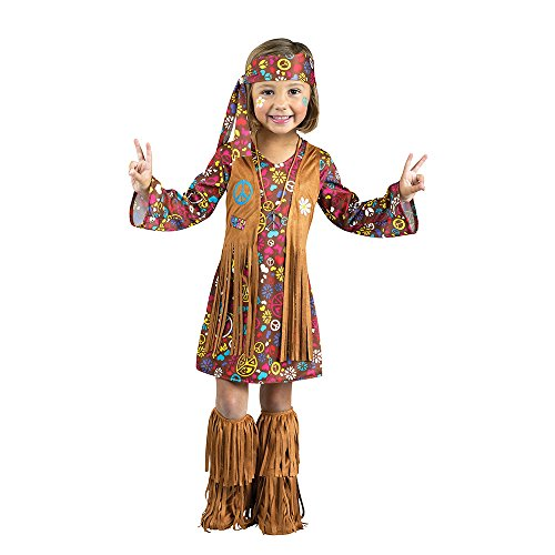 Fun World Costumes Baby Girl's Peace and Love Hippie Toddler Costume, Brown, ()