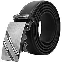 Soft Direct Men's Leather Sliding Buckle Ratchet Belt (Black)