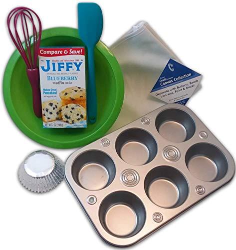 [해외]Kids Kitchen Tools Mini Cooking Utensils Baking Set for Kids or Adults Muffin Kit Bundle of 7 - Child Sized Apron Mixing Bowl Muffin Tin Blueberry Mix and More / Kids Kitchen Tools Mini Cooking Utensils Baking Set for Kids or Adult...
