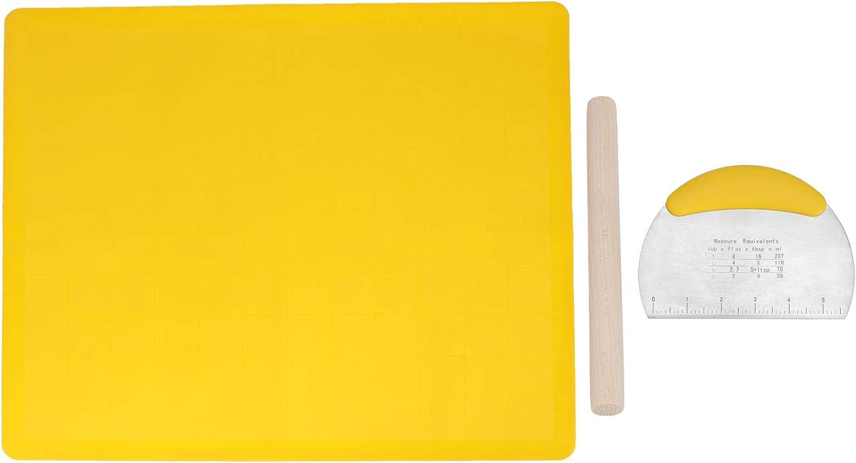 Juego de masa para amasar de 3 piezas, juego de masa para amasar de silicona de grado alimenticio, tapete para masa, rodillo, raspador de masa con báscula, para cocina doméstica (Amarillo grande)