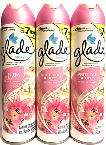 Glade Air Freshener Spray - White Tea & Lily - Net Wt. 8 OZ (227 g) Per Can - Pack of 3 Cans