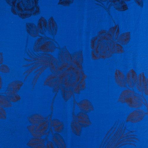 FUPashRose06AG Lightweight Two Tone Rose Floral Design Pashmina Fringe Scarf / Stole / Wrap - Royal Blue / Black