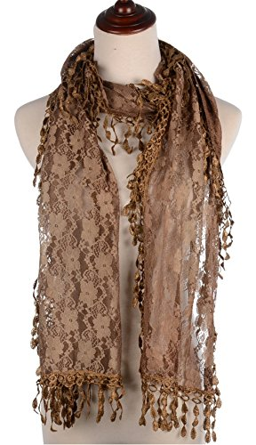 (BYOS Womens Fashion Floral Pattern Lace Scarf Shawl With Tassel (Coffee))