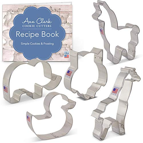Baby Shower Animals Cookie Cutter Set with Recipe Booklet - 5 piece - Cute Elephant, Giraffe, Llama, Rubber Ducky & Cute Owl - Ann Clark - USA Made Steel