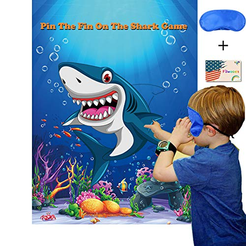 Pin The Fin On The Shark Party Games for Kids Birthday Party Supplies Baby Shark Party Games Include Large Shark Games Poster 24 Fin Stickers and Blindfold -