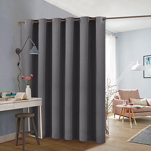 PONY DANCE Gray Privacy Room Divider Curtain Full Length Room Partition Portable Blackout Curtain Screen with Grommet Chrome Heavyweight for Shelves, One Panel, W 10ft x L 9ft, Grey by PONY DANCE