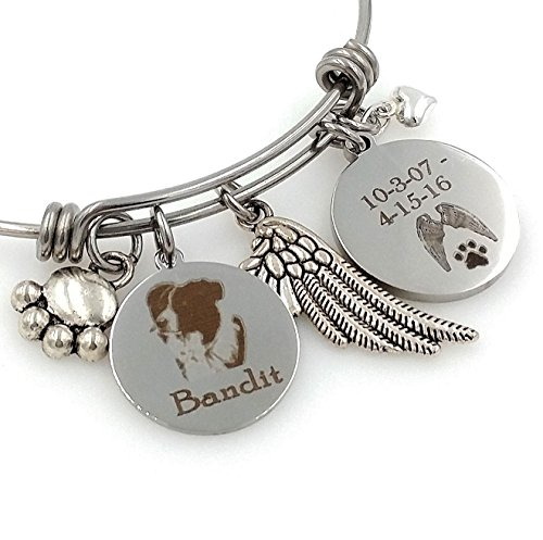 Rainbow Bridge Border (Border Collie, Herding Dog Personalized Memorial Remembrance Bangle Bracelet or Necklace, Engraved - Rainbow Bridge)