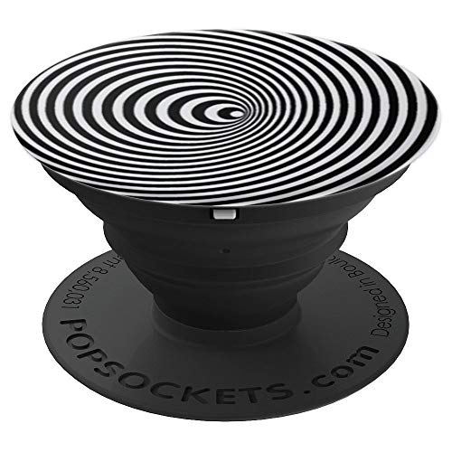 Hypnotic Circles Black and White. Share with family - PopSockets Grip and Stand for Phones and Tablets