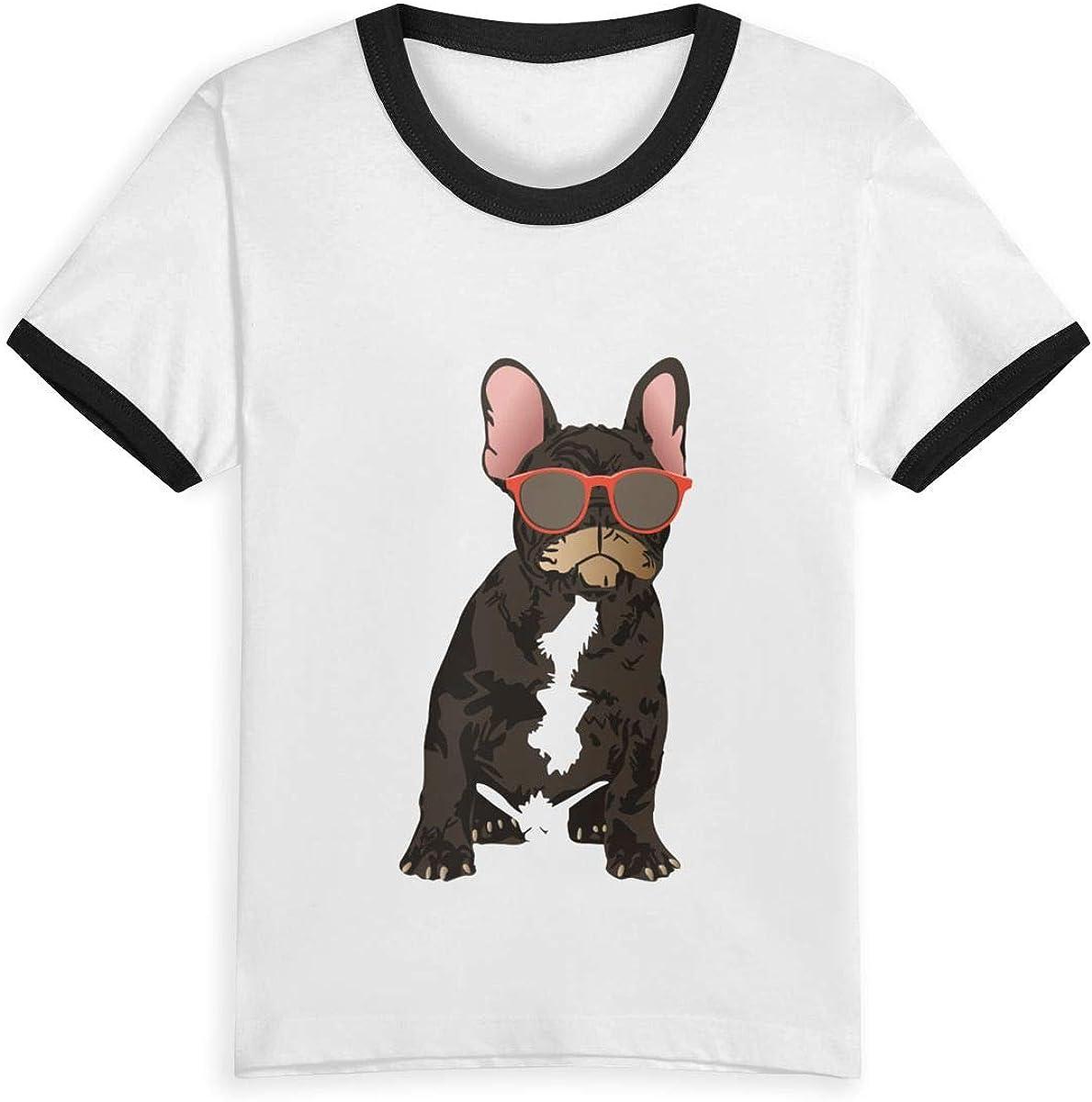Queen Elena Cool French Bulldog - Camiseta de Manga Corta para niños de 2 a 6 años con Estampado de Dibujos Animados Negro Negro (3 años: Amazon.es: Ropa y accesorios
