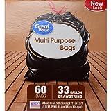 Great Value Multi Purpose Trash Bags, 33 Gallon, 60 Count