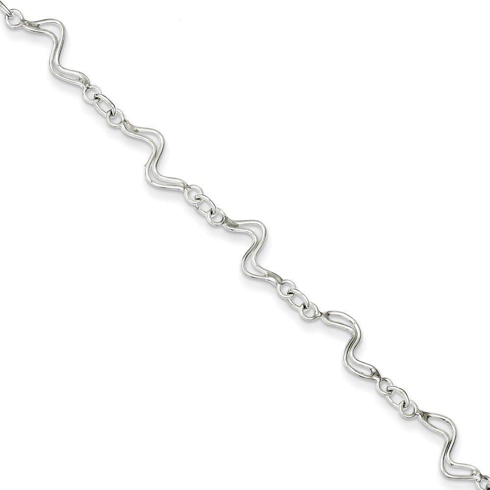 Sterling Silver 10inch Fancy Polished Anklet
