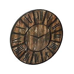 Benzara Black and Brown Metal and Wood 36-inch Diameter Clock