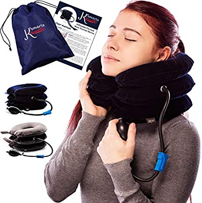 Pinched Nerve Neck Stretcher Cervical Traction Device for Home Pain Treatment | Inflatable Spinal Decompression Collar Unit Muscle Strain Injury Relief | Herniated Disc Problems Remedy Kit (Blue)