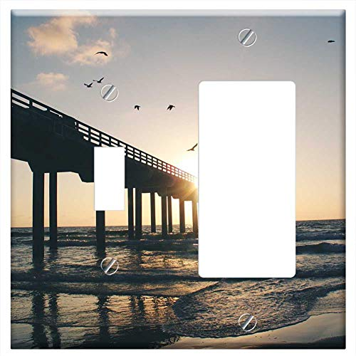 1-Toggle 1-Rocker/GFCI Combination Wall Plate Cover - Sunset Dusk Sky Clouds Birds Animals Pier Doc (Plates One Bird Pier)