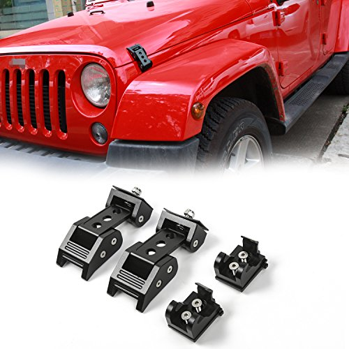(Voodonala Black Aluminum Hood Latches Hood Lock Catch for 2007-2018 Jeep Wrangler JK JKU)
