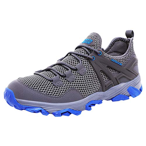 JUSTWIN Outdoor Sport Running Shoes Men's Mesh Breathable Hiking Shoes Non-Slip Lace-up Thick Bottom Shoes Dark Gray