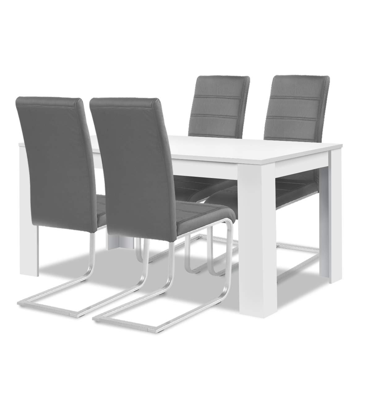 Agionda® Esstisch + Stuhlset   1 x Esstisch Toledo Weiss + 4 Freischwinger Jan Piet grau 120 kg