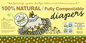 Broody Chick 100% Natural Fully Compostable Diapers Jumbo Box (Newborn 6.6 - 13.2 lbs. (144-Count))