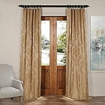 Half Price Drapes JQCH-20122011-96 Magdelena Faux Silk Jacquard Curtain, 50 x 96, Beige & Gold