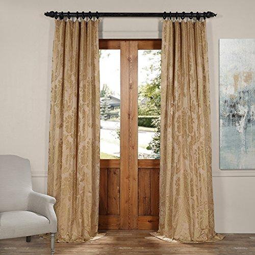 JQCH-20122011-84 Magdelena Faux Silk Jacquard Curtain,Beige & Gold,50 X 84 (Beige Gold And Curtains)