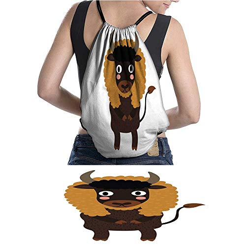 (Drawstring Bag Bison standing on two legs cartoon character vecto W13.7