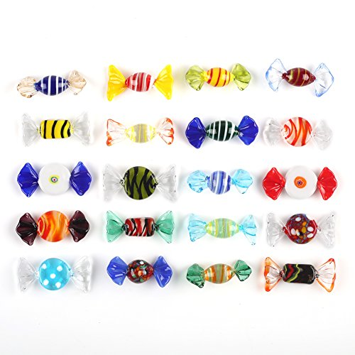 F-ber 20pcs Vintage Murano Style Various Glass Sweets Candy Ornament for Home Party Wedding Christmas Festival Decorations Gift ()