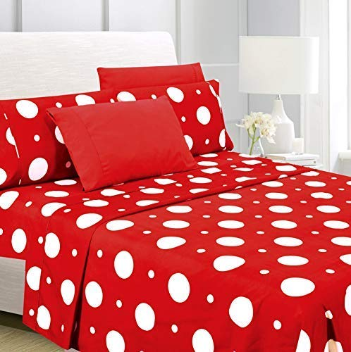 American Home Collection Deluxe 4 Piece Printed Sheet Set of Brushed Fabric, Deep Pocket Wrinkle Resistant - Hypoallergenic (Twin, Red Polka Dot)