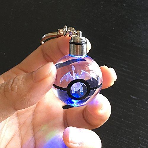 S-SO K9 Crystal 3D Charizard Pokemon Go Elf ball Night LED light keychain (Led Crystal Ball)