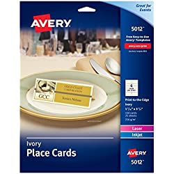 "Avery Ivory Place Cards, Laser/Inkjet Printers, 1-7/16""x3-3/4"", Pack of 150 (5012)"