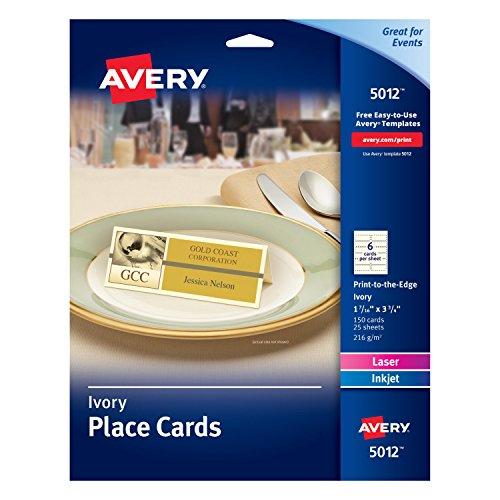 (Avery Ivory Place Cards, Laser/Inkjet Printers, 1-7/16x3-3/4, Pack of 150 (5012))