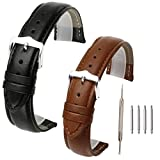 Top Plaza 2 Pcs 12mm/18mm/20mm/22mm Black Brown Genuine Leather Band Replacement Leather Wrist Watch Band Strap with Stainless Steel Buckle (20mm)