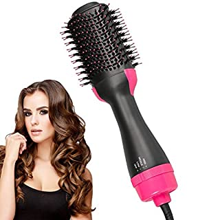 Hair Dryer Brush, One Step Hot Air Brush, Hair Volumizer Curler Straightener Styler, Salon Negative Ion Ceramic Electric Blow Comb