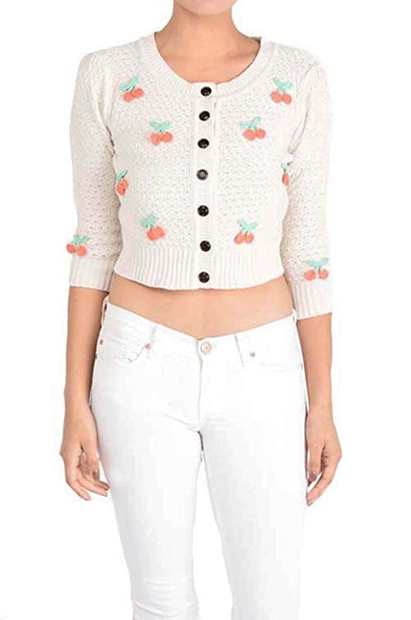 Retro Vintage Sweaters Mak Cropped Cardigan with Embroidered Cherries $36.00 AT vintagedancer.com