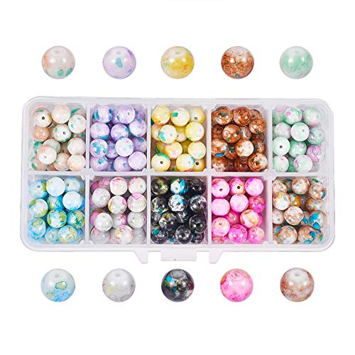 PH PandaHall About 300pcs 10 Colors 8mm Artistic Marble Design Lampwork Glass Round Beads Assortment Lot for Jewelry Making
