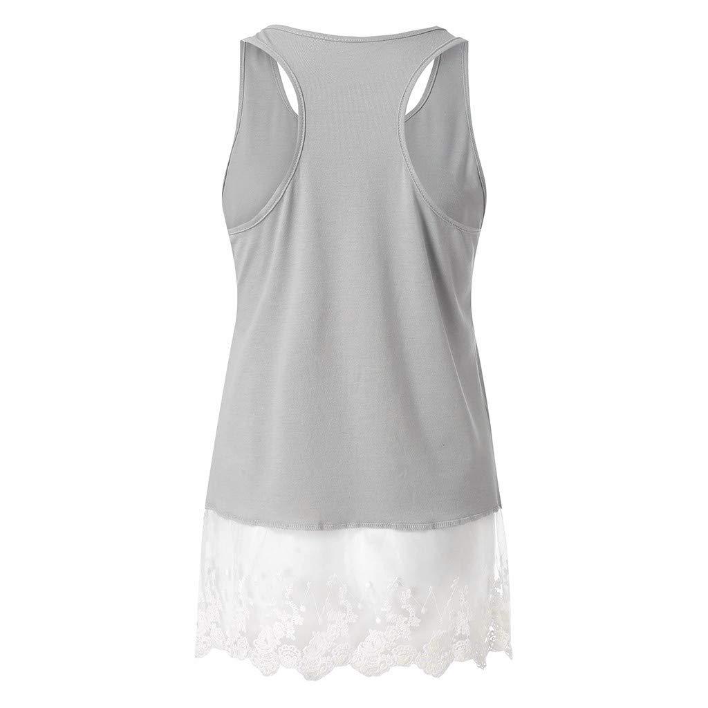 Xinantime Womens Lace Stitching Sleeveless Vest with Lace Trim Hem Embellished Beach Tank Top Shirt