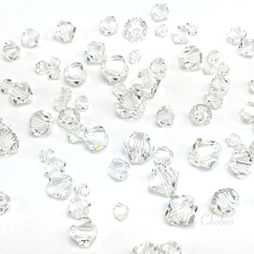 72 pcs Swarovski 5328 / 5301 Mixed Sizes in 3mm 4mm 5mm 6mm Xilion Bicone Beads clear CRYSTAL (001) **FREE Shipping from Mychobos ()