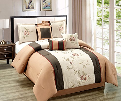 7 Pieces Chocolate Brown, Camel and Tan with Embroidery Floral Comforter Set Bed-in-a-bag - King Size