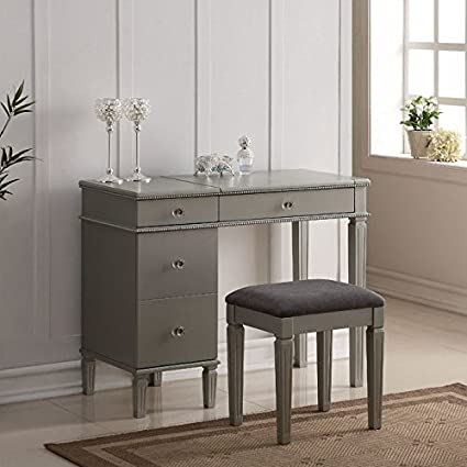 Amazon.com: Linon Alexandria Bedroom Vanity Set in Silver: Kitchen ...
