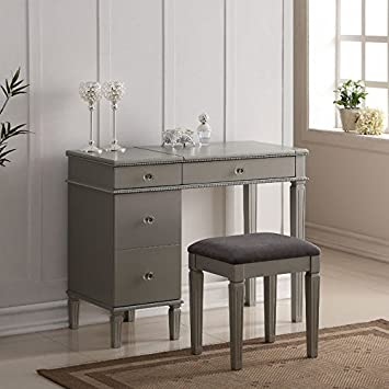 linon alexandria bedroom vanity set in silver kitchen