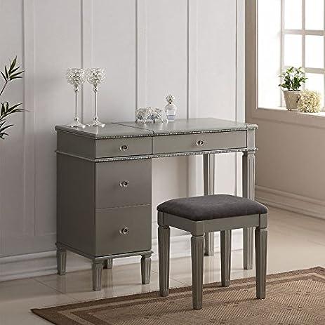 Amazon.com: Linon Alexandria Bedroom Vanity Set in Silver: Kitchen ...