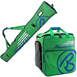 BRUBAKER Champion - Limited Edition - Ski Boot Bag and Ski Bag for 1 Pair of Ski up to 170 cm, Poles, Boots and Helmet - Green Blue