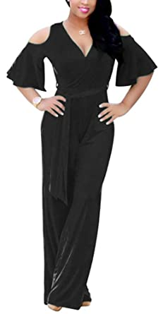 33854234139a Vamvie Women s Sexy V Neck Cold Shoulder Wrap Wide Leg Jumpsuits Loose  Rompers With Belt